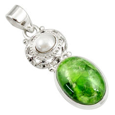Clearance Sale- 15.16cts natural green chrome diopside pearl 925 sterling silver pendant d42008