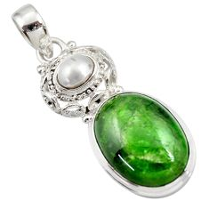 Clearance Sale- 17.38cts natural green chrome diopside pearl 925 sterling silver pendant d42009