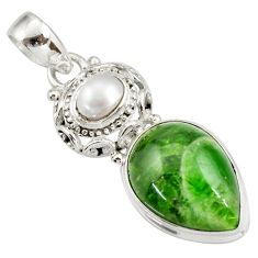 Clearance Sale- 14.86cts natural green chrome diopside pearl 925 sterling silver pendant d42012