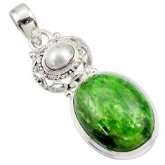 Clearance Sale- 17.36cts natural green chrome diopside pearl 925 sterling silver pendant d42018