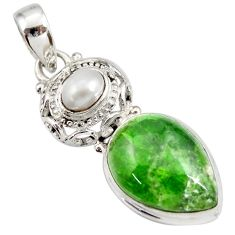 Clearance Sale- 15.16cts natural green chrome diopside pearl 925 sterling silver pendant d42020