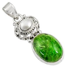 Clearance Sale- 14.12cts natural green chrome diopside pearl 925 sterling silver pendant d42651