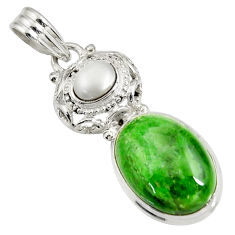 Clearance Sale- 14.41cts natural green chrome diopside pearl 925 sterling silver pendant d42654