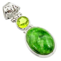 Clearance Sale- 13.70cts natural green chrome diopside peridot 925 silver pendant d42005