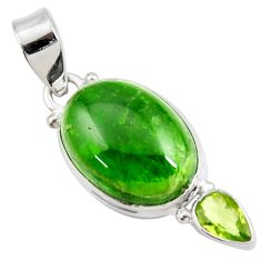 Clearance Sale- 14.72cts natural green chrome diopside peridot 925 silver pendant d42594