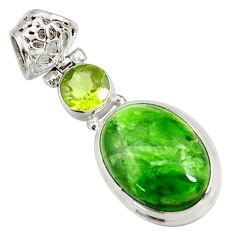 Clearance Sale- 16.06cts natural green chrome diopside peridot 925 silver pendant d42636