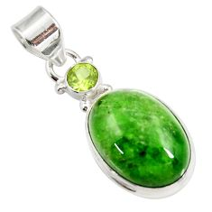 Clearance Sale- 15.02cts natural green chrome diopside peridot 925 silver pendant d42637