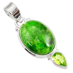 Clearance Sale- 14.47cts natural green chrome diopside peridot 925 silver pendant jewelry d42614