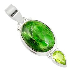 14.23cts natural green chrome diopside peridot 925 silver pendant jewelry r19581