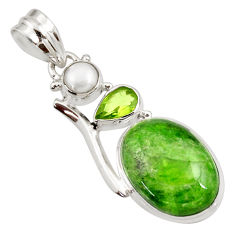 Clearance Sale- 15.65cts natural green chrome diopside peridot pearl 925 silver pendant d42013