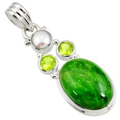 Clearance Sale- 15.16cts natural green chrome diopside peridot pearl 925 silver pendant d42562