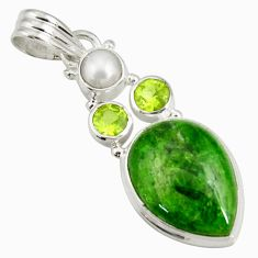 Clearance Sale- 14.90cts natural green chrome diopside peridot pearl 925 silver pendant d42565