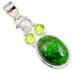 Clearance Sale- 15.95cts natural green chrome diopside peridot pearl 925 silver pendant d42570