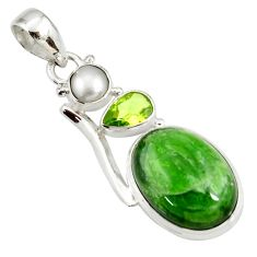 Clearance Sale- 15.16cts natural green chrome diopside peridot pearl 925 silver pendant d42588