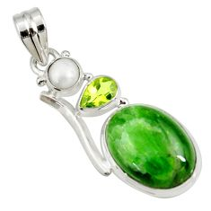 Clearance Sale- 16.54cts natural green chrome diopside peridot pearl 925 silver pendant d42633