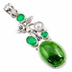 Clearance Sale- 18.22cts natural green chrome diopside silver angel wings fairy pendant d42567