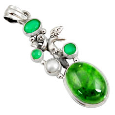 Clearance Sale- 18.22cts natural green chrome diopside silver angel wings fairy pendant d42572