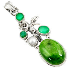 Clearance Sale- 17.81cts natural green chrome diopside silver angel wings fairy pendant d42574