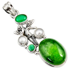 Clearance Sale- 17.69cts natural green chrome diopside silver angel wings fairy pendant d42575