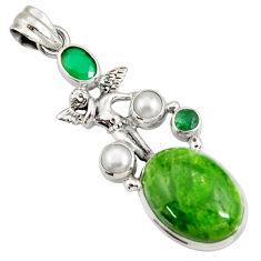 Clearance Sale- 17.38cts natural green chrome diopside silver angel wings fairy pendant d42578