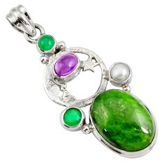 Clearance Sale- 16.93cts natural green chrome diopside silver crescent moon star pendant d42545