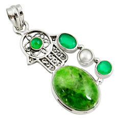Clearance Sale- 17.81cts natural green chrome diopside silver hand of god hamsa pendant d42541