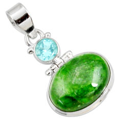 Clearance Sale- 13.24cts natural green chrome diopside topaz 925 sterling silver pendant d42589