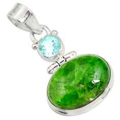 Clearance Sale- 15.08cts natural green chrome diopside topaz 925 sterling silver pendant d42602