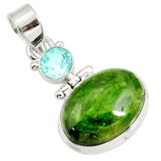 Clearance Sale- 15.08cts natural green chrome diopside topaz 925 sterling silver pendant d42605