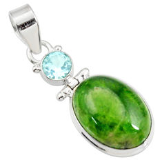 14.40cts natural green chrome diopside topaz 925 sterling silver pendant d42607