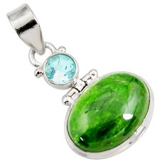 Clearance Sale- 14.72cts natural green chrome diopside topaz 925 sterling silver pendant d42608