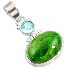 Clearance Sale- 14.68cts natural green chrome diopside topaz 925 sterling silver pendant d42611