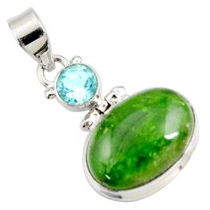 Clearance Sale- 15.08cts natural green chrome diopside topaz 925 sterling silver pendant d42613