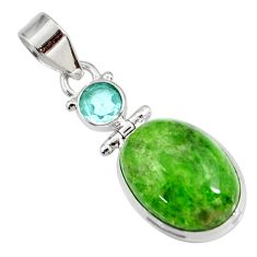 Clearance Sale- 15.02cts natural green chrome diopside topaz 925 sterling silver pendant d42615