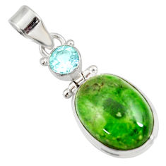 Clearance Sale- 14.14cts natural green chrome diopside topaz 925 sterling silver pendant d42617