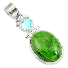 14.47cts natural green chrome diopside topaz 925 sterling silver pendant d42618