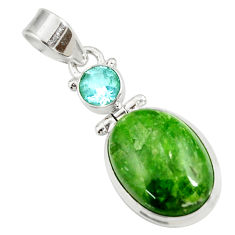 Clearance Sale- 14.72cts natural green chrome diopside topaz 925 sterling silver pendant d42621