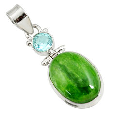 14.68cts natural green chrome diopside topaz 925 sterling silver pendant d42622