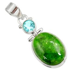 Clearance Sale- 15.05cts natural green chrome diopside topaz 925 sterling silver pendant d42623