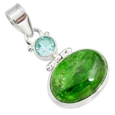 Clearance Sale- 14.52cts natural green chrome diopside topaz 925 sterling silver pendant d42625