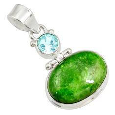 Clearance Sale- 14.68cts natural green chrome diopside topaz 925 sterling silver pendant d42626