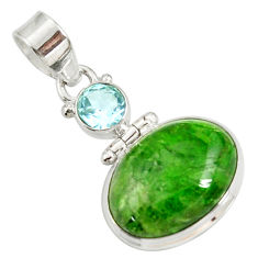 14.72cts natural green chrome diopside topaz 925 sterling silver pendant d42629