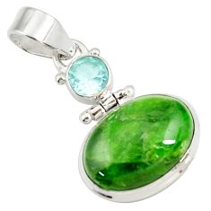 14.45cts natural green chrome diopside topaz 925 sterling silver pendant d42631