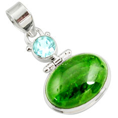 Clearance Sale- 14.47cts natural green chrome diopside topaz 925 sterling silver pendant d42634