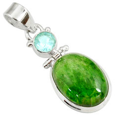 Clearance Sale- 14.47cts natural green chrome diopside topaz 925 sterling silver pendant d42639
