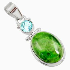 Clearance Sale- 15.02cts natural green chrome diopside topaz 925 sterling silver pendant d42640