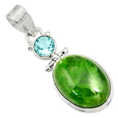 Clearance Sale- 13.77cts natural green chrome diopside topaz 925 sterling silver pendant d42655