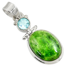 Clearance Sale- 13.27cts natural green chrome diopside topaz 925 sterling silver pendant d42657