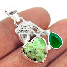 8.03cts natural green chrome heart chalcedony 925 silver fish pendant t55373