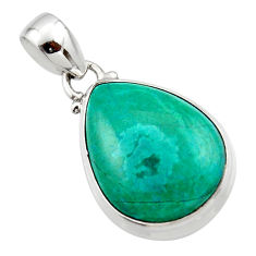 13.60cts natural green chrysocolla 925 sterling silver pendant jewelry r46562
